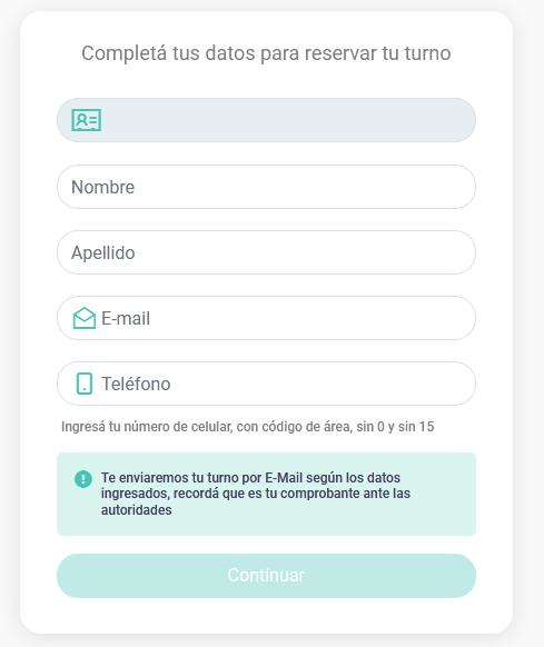 formulario de datos personales para como sacar turno bancor, pedir turno online banco provincia de córdoba