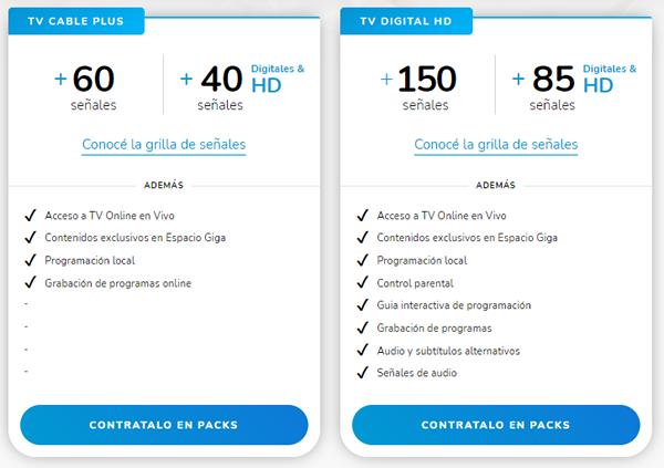 planes de televisión y programación en gigared tv argentina