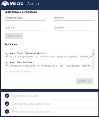 formulario para sacar turno por internet en el banco macro
