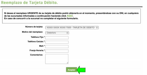 cómo reemplaza tarjeta de débito visa banco provincia online