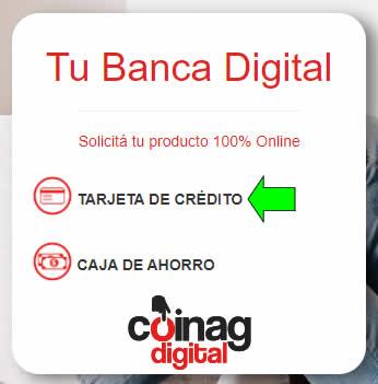 seleccionar tarjeta de crédito en los productos digitales de banco coinag