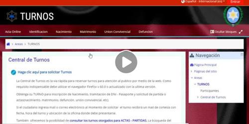video tutorial para sacar turno dni registro civil salta